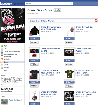 Green Day Facebook store.