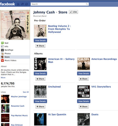 Johnny Cash Facebook store.