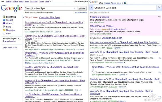Google desktop search results on left are very similiar to Google mobile search results, on right.