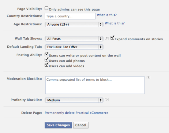 Facebook provides page owners with user permission and moderation options.