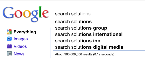 An example of Google's type-ahead search feature.