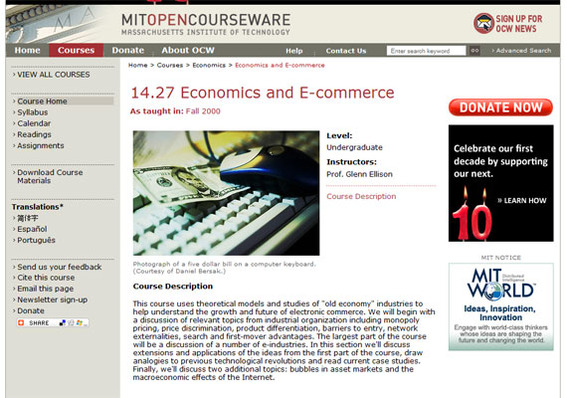 MIT OpenCourseWare home page.