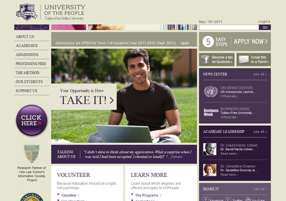University of the People home page.