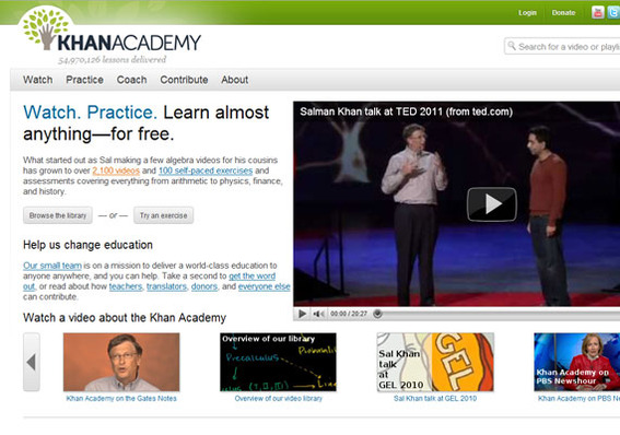 Khan Academy home page.