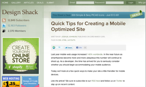 Design Shack offers helpful tips on optimizing for mobile.