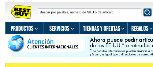 The Spanish version of Best Buy's website.