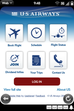 The US Airways mobile site makes it easy to book flights, check statuses and contact the airline.