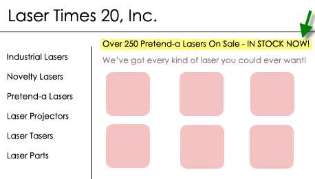 "The search term ""Pretend-a Laser"" is dynamically inserted on this hypothetical landing page."