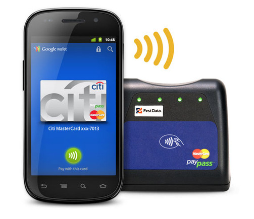 Phones equipped with Google Wallet will communicate with merchant pin pads via near field communication or NFC.