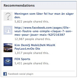 Facebook's Recommendations plugin lists suggestions of content on your site for the user.
