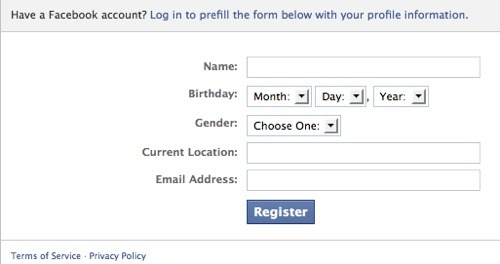 Facebook's Registration plugin allows users to easily sign up for your website.