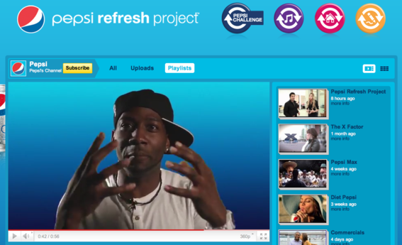 Pepsi ties its YouTube channel to Pepsi Refresh, a community development project.