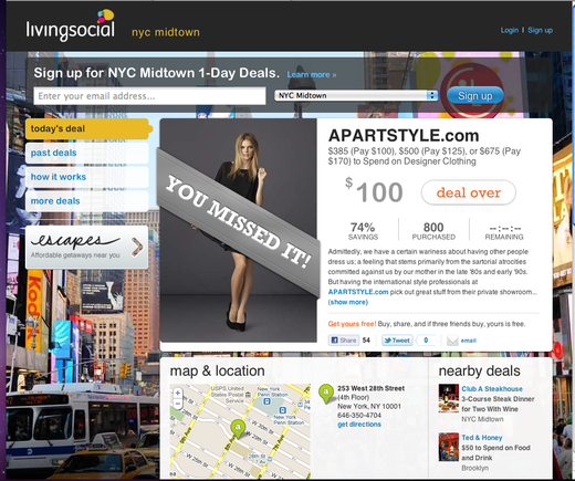 APARTStyle's LivingSocial promotion focused on the local New York area.