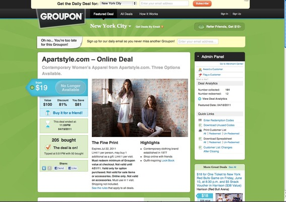 The APARTStyle Groupon promotion was online exclusively.