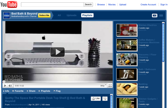 Bed, Bath & Beyond groups its videos into categories