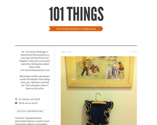 More of Me's 101 Things Tumblr blog has a sophisticated look to match its brand.