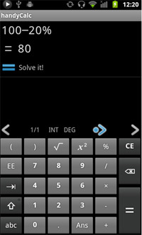 HandyCalc app screenshot.