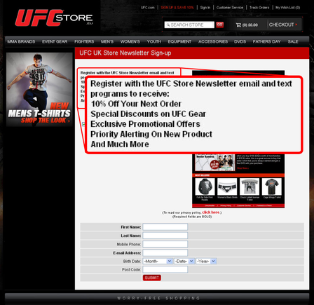 The UFC registration page.