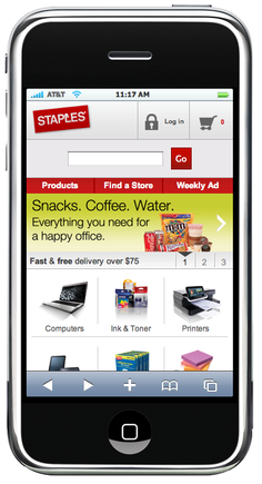 The Staples mobile site, on an iPhone simulator.