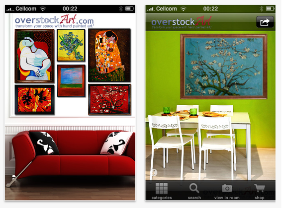 Screen captures, OverstockArt's iPhone decorating app.
