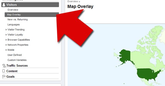 "Find ""Map Overlay"" under ""Visitors"" in Google Analytic's left navigation."