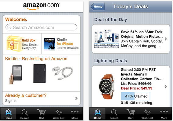 Amazon's iPhone app offers many features, including the ability to scan bar codes and compare prices.