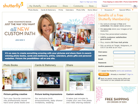 Shutterfly offers online print services.