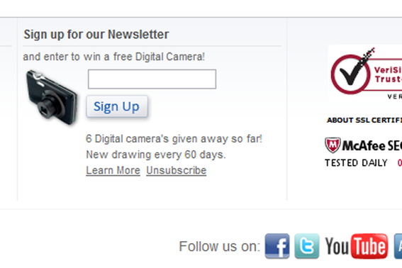 Abe's of Maine gives away digital cameras to boost newsletter subscriptions.