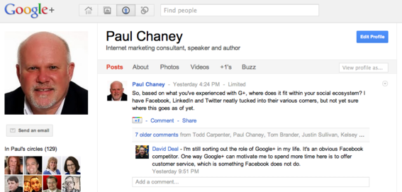 Google+ incorporates the long-standing Google Profiles application.
