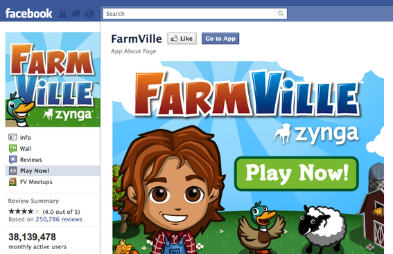 FarmVille, on Facebook.