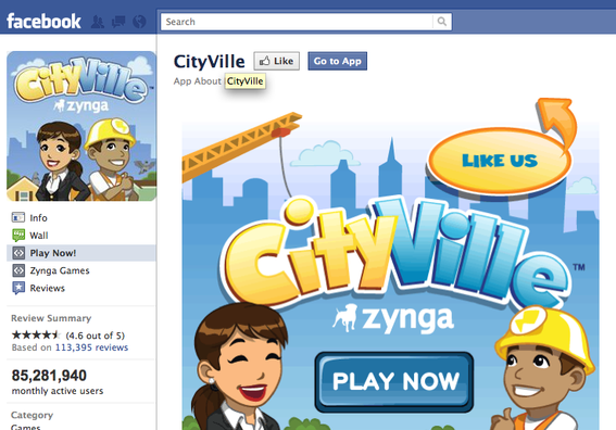 CityVille, on Facebook.