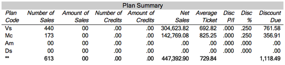 "Merchant Account Statement - ""Plan Summary"" section."