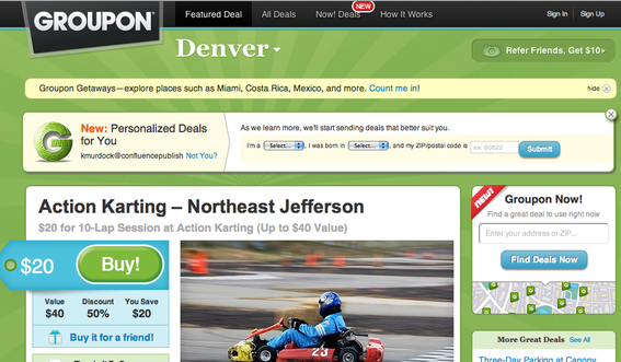 Groupon home page, for the Denver, Colorado market.