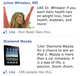 Facebook Ads contain a title, thumbnail image, body copy and call-to-action.