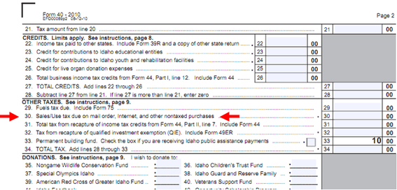 Sample excerpt from Idaho state income tax return, with line for tax due from Internet purchases.
