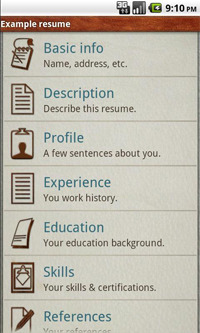 Pocket Resume screenshot.