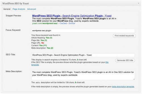 WordPress SEO by Yoast in WordPress.