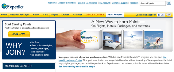 """Expedia Rewards"" is a loyalty program that allows repeat customers to accrue travel points."