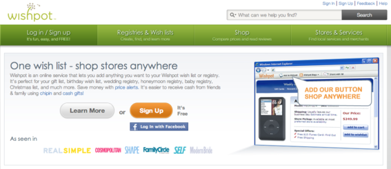 Wishpot enables users to create online lists and registries.