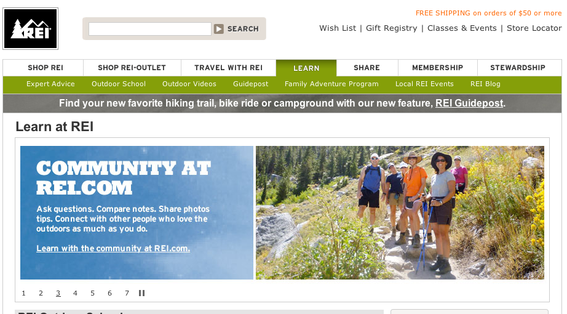 "REI's ""Learn at REI"" section promotes outdoor activities."