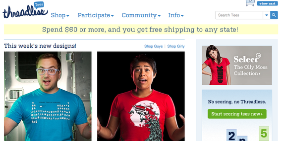 Threadless.com relies on consumers to submit t-shirt designs, and then vote on them.