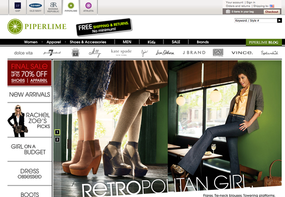 Gap created a new brand, Piperlime, to sell footwear and handbags online. There are no Piperlime physical locations.
