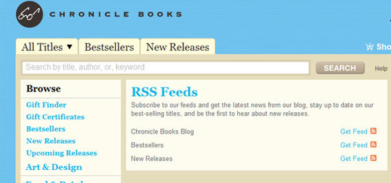 Chronicle Books has RSS feeds that would make sense as an email campaign.