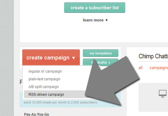 "Start by selecting ""RSS-driven campaign"" from the MailChimp dashboard."