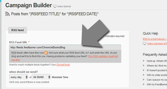 Copy and paste the desired RSS feed into the MailChimp form.
