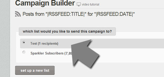 Select the list that should receive the RSS-to-email campaign.