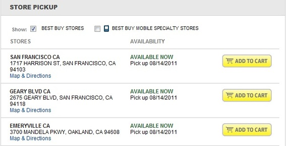 "Best Buy discloses in-stock inventory in physical locations with the ""Available Now"" text."