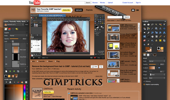 You can find GIMPtricks' tutorials on YouTube.
