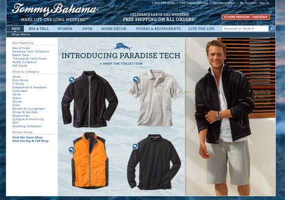 The popular Tommy Bahama brand uses large attractive images to help sell its products.