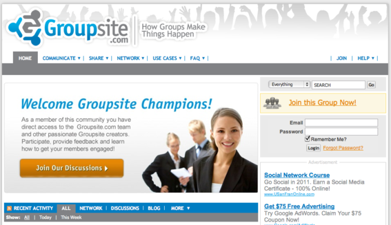 Groupsite focuses on social collaboration in groups.